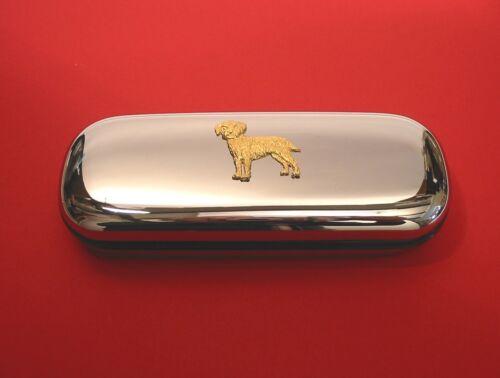 Border Terrier Gold Plated Pewter Motif On Chrome Glasses Case Vet Mum Gift