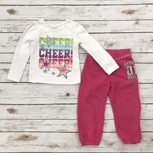 quality dirt cheap On Clearance Details about HEALTHTEX Girls Size 3T White Pink Long Sleeved Top  Sweatpants Outfit