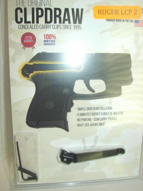 Ruger Lcp2 Clipdraw Concealed Carry IWB Belt Clip Black