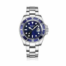 BLENHEIM LONDON® Men's Navigator Luminous Sapphire Glass Blue Dial Diver Watch