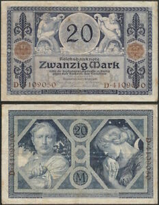 GERMANY-20-mark-1915-P-63-Europe-banknote-Edelweiss-Coins