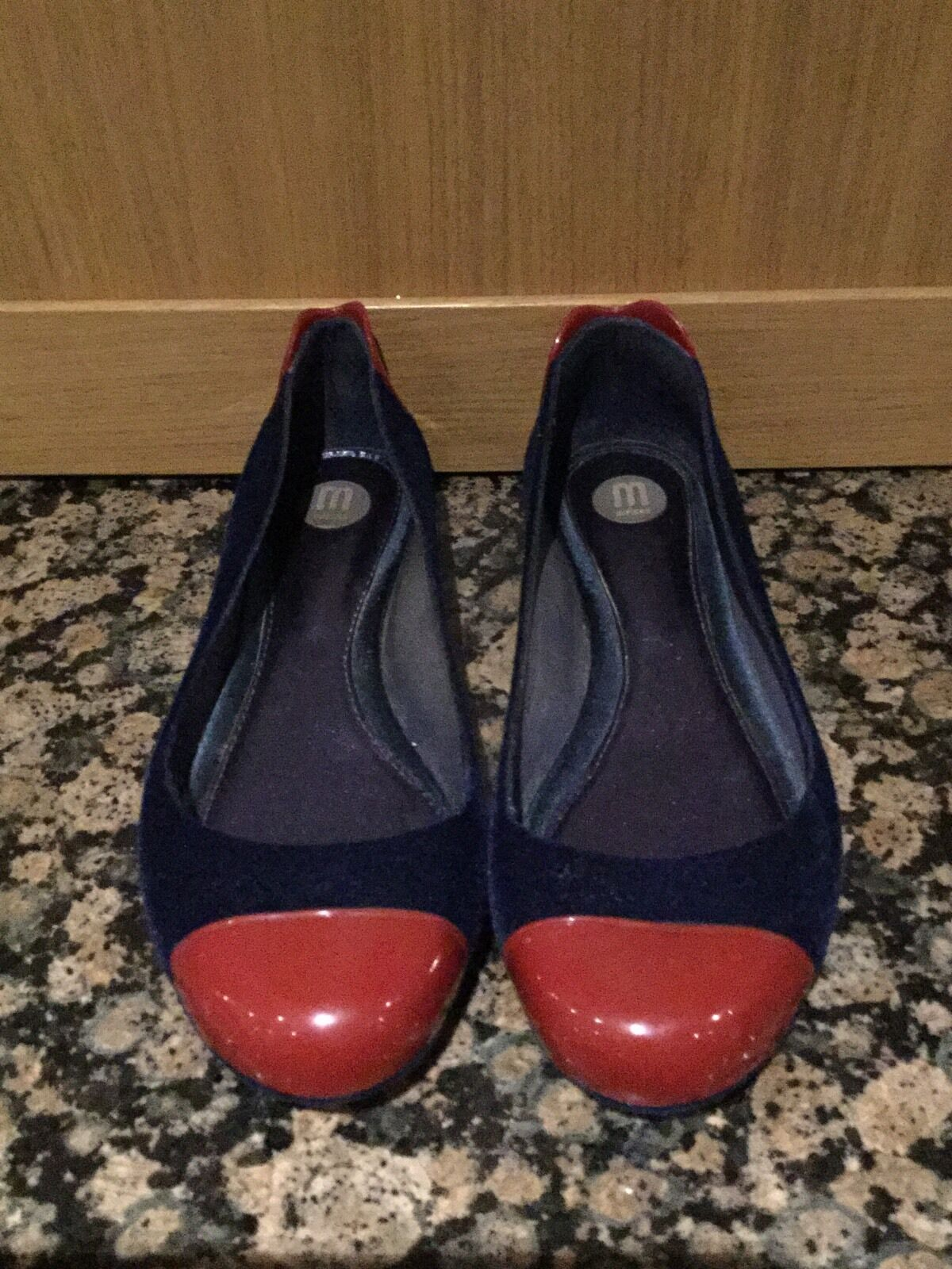 MELISSA FLAT Blau & ROT VELOUR VELOUR VELOUR Schuhe/SIZE 6/39/IN GREAT CONDITION 3b1d8a
