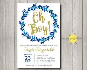 Details About Custom Baby Shower Invitation Oh Boy Blue Navy Wreath And Gold Foil Faux