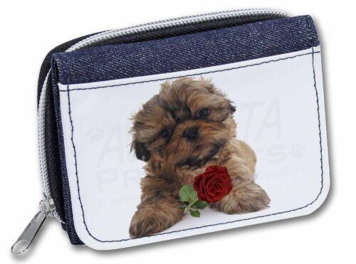 AD-SZ4RJW Shih Tzu Dog with Red Rose Girls//Ladies Denim Purse Wallet Christmas