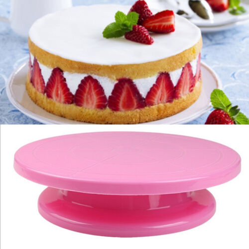 Hot Revolving Kitchen Display Stand Round Rotating Cake Plate Decor Turntable FA