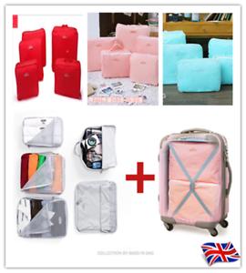 8 Pezzi Organizer Set Valigia Borse Di Stoccaggio imballaggio Da Viaggio Cubi UK