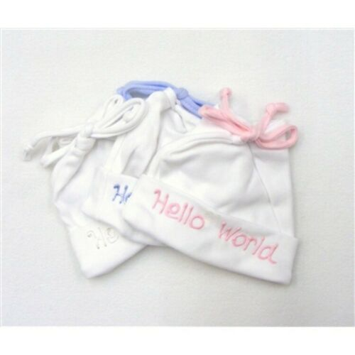 Adorable Baby Boys Girls UK Made Hand Decorated Hello World Cotton Loop Bow Hat