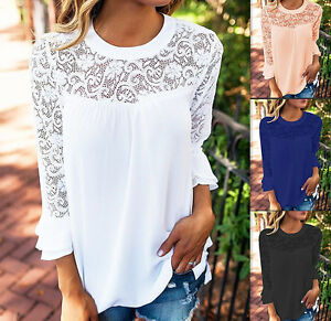Women-039-s-Chiffon-Lace-Hollow-Out-3-4-Sleeve-Patchwork-Tops-Blouse-Shirts