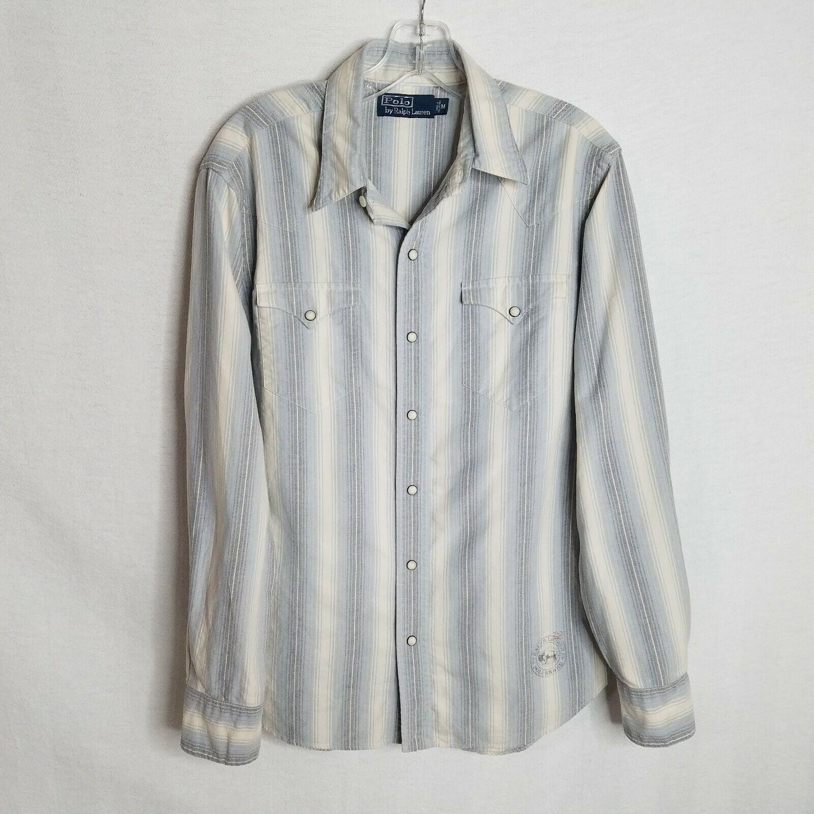 Vintage Polo Ralph Lauren Mens Pearl Button Front L S Western Shirt Medium L308