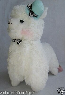 "14""Japan Amuse Arpakasso Alpacasso Alpaca Plush Doll With Hat white"