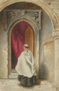 Late-19th-Century-Watercolour-Monk-Church-Interor