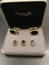 CHRISTIAN DIOR MENS GOLD BLACK ONYX CUFF LINKS 3 SHIRT STUDS TUXEDO Set In Box