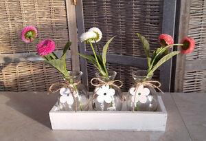 Fruhling Deko Holz Box Mit 3 Glasvasen Flaschen Tischdeko Tablett
