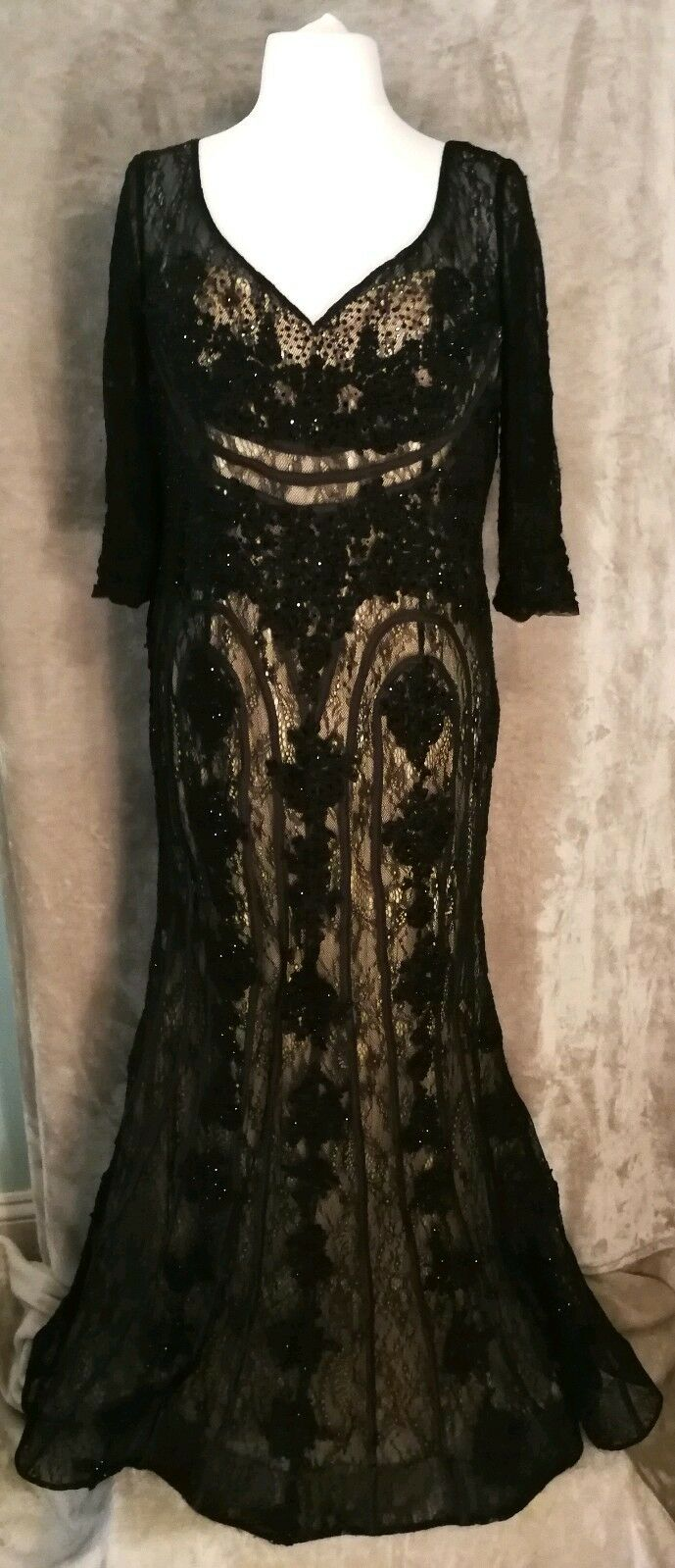 Viviana London schwarz lace mesh sparkly long mermaid ball gown dress Größe 14