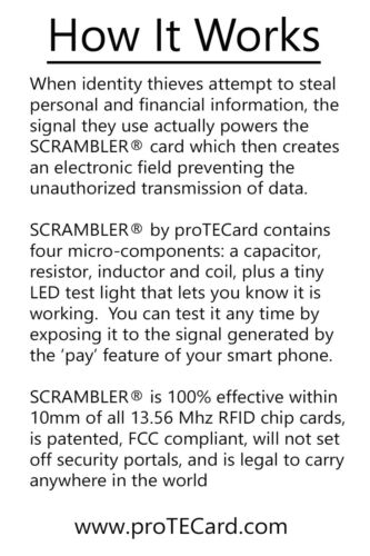 ONE SCRAMBLER by proTECard COVERS YOUR ENTIRE WALLET! RFID PROTECTION
