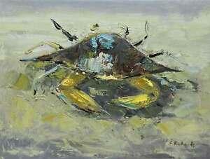 12x16-Green-Gray-Crab-Beach-Canvas-Original-Oil-Painting-Wall-Art-Work-Decor-New