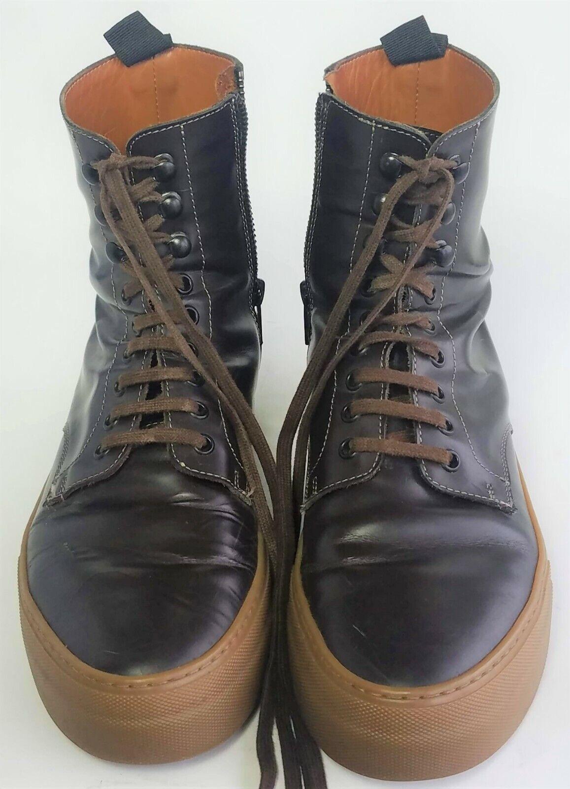 COMMON PROJECT X Robert Geller Marroneee Leather Combat stivali scarpe 10 US 43 EUR Men
