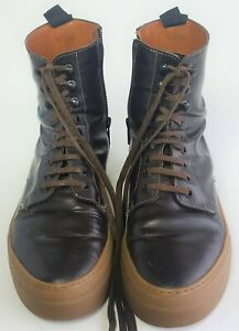 cef10744829a42 COMMON PROJECT X Robert Geller Brown Leather Combat BOOTS Shoes 10 ...