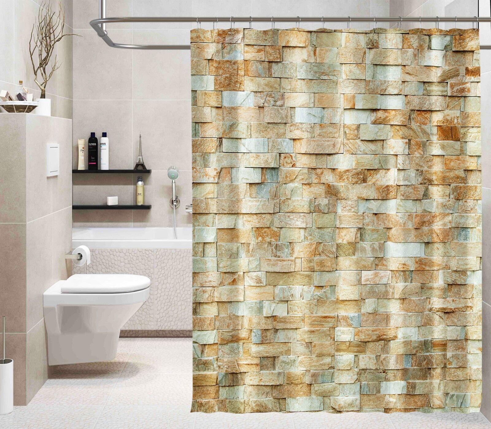 3D marmo mattoni 312 Tenda da doccia IMPERMEABILE Fibra Bagno WC CASA FINESTRE