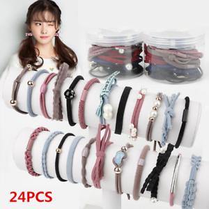 24Pcs-Pearl-Rubber-Elastic-Hair-band-Ribbon-Bowknot-Hair-Ropes-For-Women-Girls