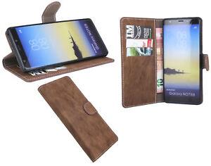 Handy-Schale-Flip-Case-Cover-Handytasche-fuer-Samsung-Galaxy-Note-8-N950F-Braun