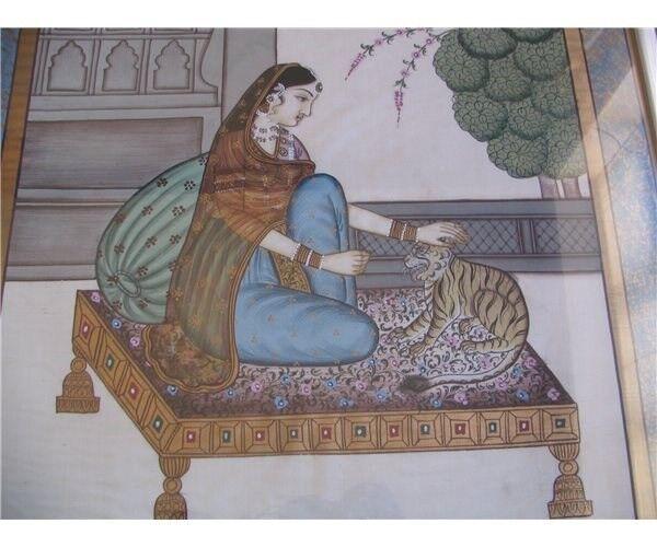 h: 80,5, b: 55,5, motiv: Kvinde og tiger på sofa