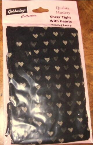Free P/&P New Sheer Black  Tights With Small  Hearts Black//Pink /& Black//Ivory