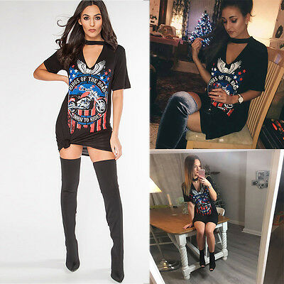 Women's Vintage Rock Style Eagle motorcycle printing Long T-Shirt Mini Dresses