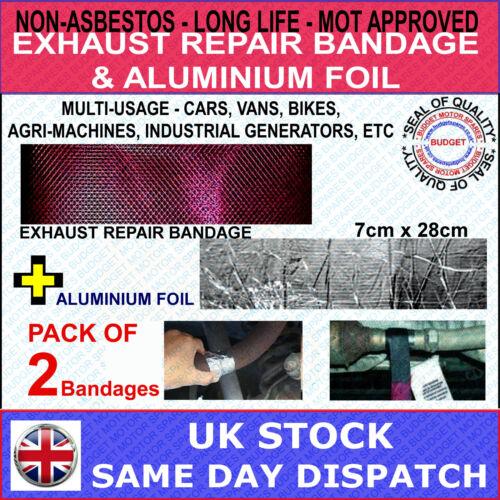 2 x EXHAUST BOX PIPE REPAIR BANDAGE WRAP GAS TIGHT HOLES SPLITS ALUMINIUM FOIL