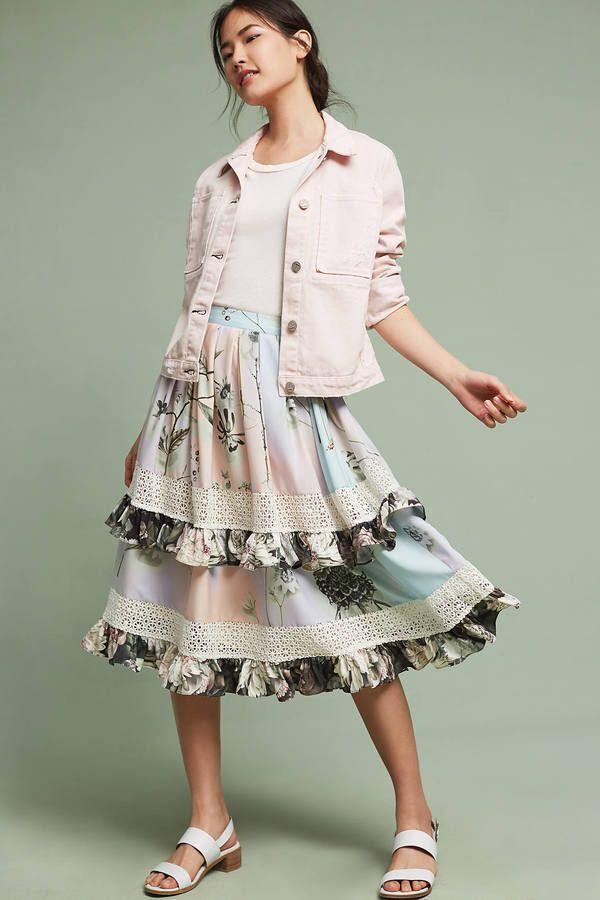 NEW Anthropologie Dionna Ruffle Skirt by Varun Bahl Sz. 16