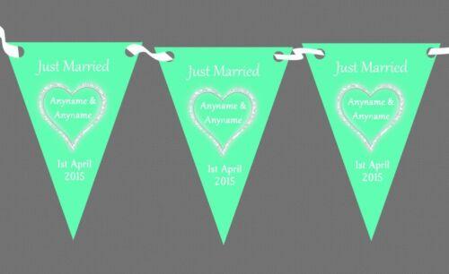 Vert menthe blanc mariage Just Married personnalisé lieu ou la réception bunting