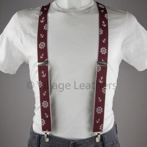 Sailing Red Trouser Braces Elastic Suspenders Handmade in England