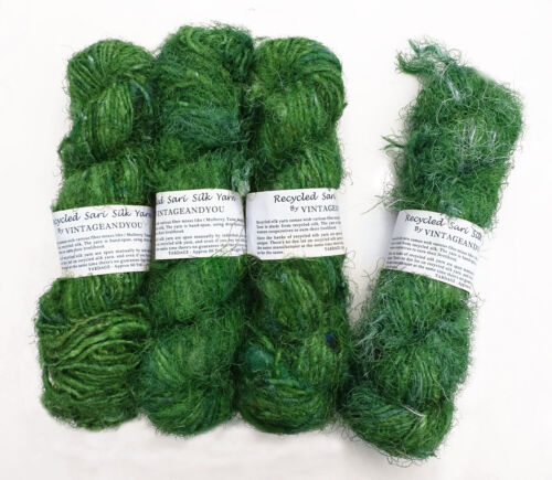 100g Recycled Sari Silk Yarn Hand-spun Green Soft Yarns