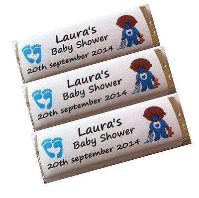 12 x Personalised Wrappers Chocolate Baby Shower Party Girl Boy Twins