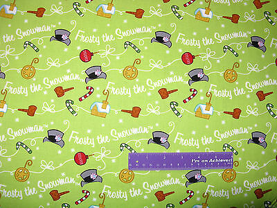 Christmas Frosty Snowman Diagonal Stripe Green Cotton Fabric QT By The Yard