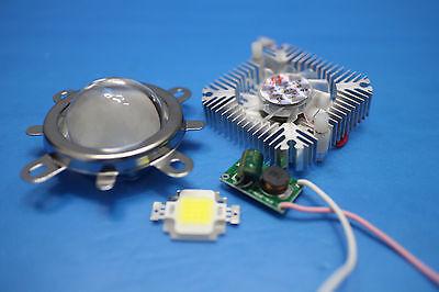 44mm Lens kit + 10W Cool White LED + 10Watt Driver + 10w Heatsink DIY