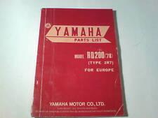 Ersatzteilliste / Spare Parts List Yamaha RD 200 / RD200 '78 Stand Dez. 1977
