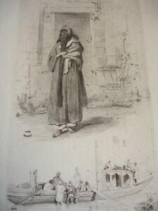 Charmant Gravure Xixe Croquis De Voyage En Egypte Signée Karl Girardet 1842 De Bons Compagnons Pour Les Enfants Comme Pour Les Adultes
