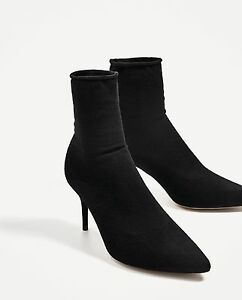 2810106d504 Image is loading ZARA-NEW-HIGH-HEEL-SOCK-STYLE-ANKLE-BOOTS-