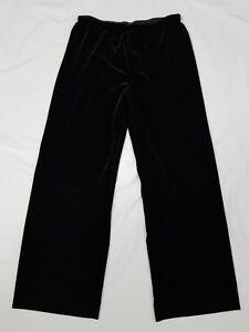 Alex-Evenings-Dress-Pants-Black-Velvet-Women-039-s-size-L-Stretchy-Loose-Fit-Elastic