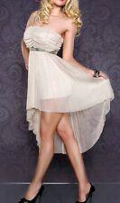 SeXy Miss Damen Vokuhila Chiffon Mini Kleid Bandeau Dress 34/36/38 beige gold
