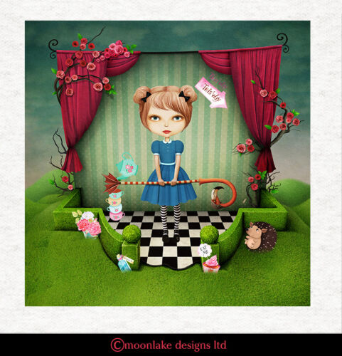 Croquet Alice in Wonderland Surrealism Fabric Cushion Upholstery Craft Panel