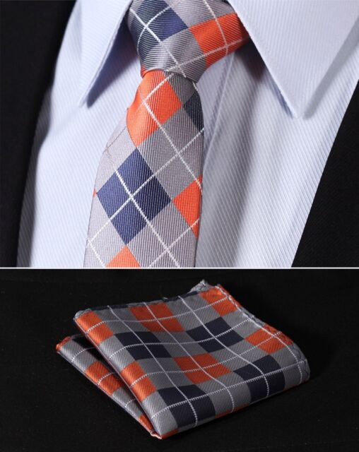 "TC4033N7 Orange Blue Check 2.75"" Silk Slim Narrow Men Handkerchief Necktie"