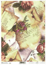 Rice Paper for Decoupage, Scrapbooking, Vintage Letters Roses , A4 size ITD R007