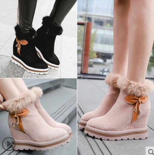 Women Suede Increase High Heels Wedge Bowknot Side Zipper Fashion Boots Hot T510