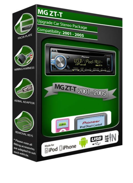MG ZT-T CD player, Pioneer headunit plays iPod iPhone Android USB AUX