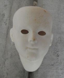"Vintage Art Porcelain Girl Doll Head 4 1/4"" Tall"
