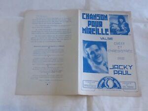 """JACKY PAUL - Partition CHANSON POUR MIREILLE !!! - France - Commentaires du vendeur : """"Voir description / See description"""" - France"""