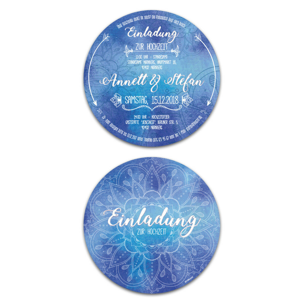 Runde Hochzeit Einladungskarten Hochzeitskarten - Blaues 1001 Nacht Mandala   | Günstige  | Spielzeugwelt, glücklich und grenzenlos