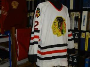 1987-89 SAGINAW HAWKS WHITE GAME WORN USED JERSEY (CHICAGO BLACKHAWKS)